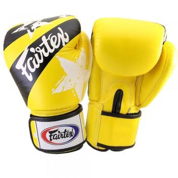 """Боксерские перчатки Fairtex """"Nation Print"""" Желтые"""