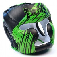 Боксерский шлем TWINS Twins FHGl-TW2 Black Green ДЕТСКИЙ